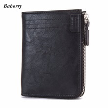 ФОТО new men's wallet vintage leather purse for male quality guarantee zipper wallet designer brand card holder with coin pocket