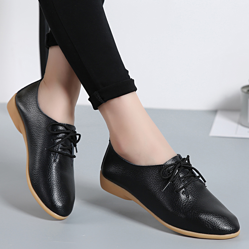 Women Flats Soft Genuine Leather Shoes Fashion Casual Loafers Point Toe Large Size Ladies Shoes Lace-Up Ballet Shoes New ABT700 summer slip ons 45 46 9 women shoes for dancing pointed toe flats ballet ladies loafers soft sole low top gold silver black pink