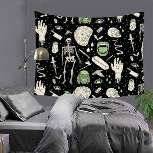 Image 3 - Cilected siyah ve beyaz korku kafatası goblen ev mobilyası duvar asılı Polyester masa örtüsü battaniye plaj havlusu Mat 9 renk