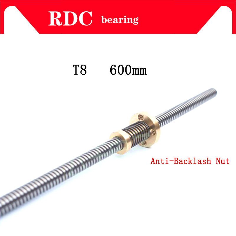 High quality Anti-Backlash Nut + 600 mm T-type Stepper Motor Trapezoidal Lead Screw 8MM Thread 8mm T8 For 3D Printer & CNC NEW