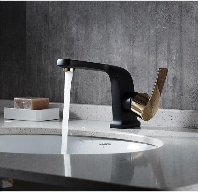 new arrival luxury unique design single lever hot and cold bathroom ORB and gold finished sink faucet basin tap ,mixer new arrival total brass high quality unique design black finished hot and cold basin faucet sink faucet bathroom basin tap