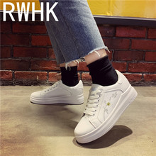 RWHK 2019 spring new wild Korean version of the small white shoes womens flat-bottom platform embroidery B370
