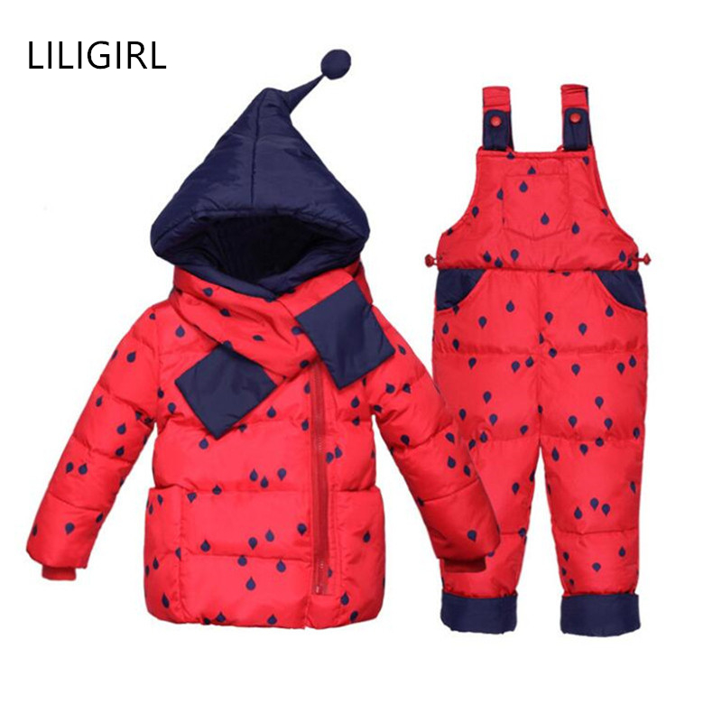 LILIGIRL 2018 Winter New Baby Down-Jacket+Strap Pant+Scarf Overalls Clostume Suit for Girls Boys Warm Thicken Print Clothes Sets le suit women s water lilies woven pant suit with scarf