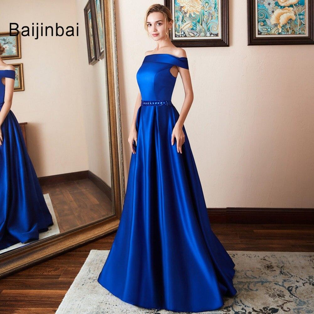 Vestido De Festa A-line Long   Prom     Dress   Vintage Off The Shoulder EveningDresses Crystal Belt Robe De Soiree 2019