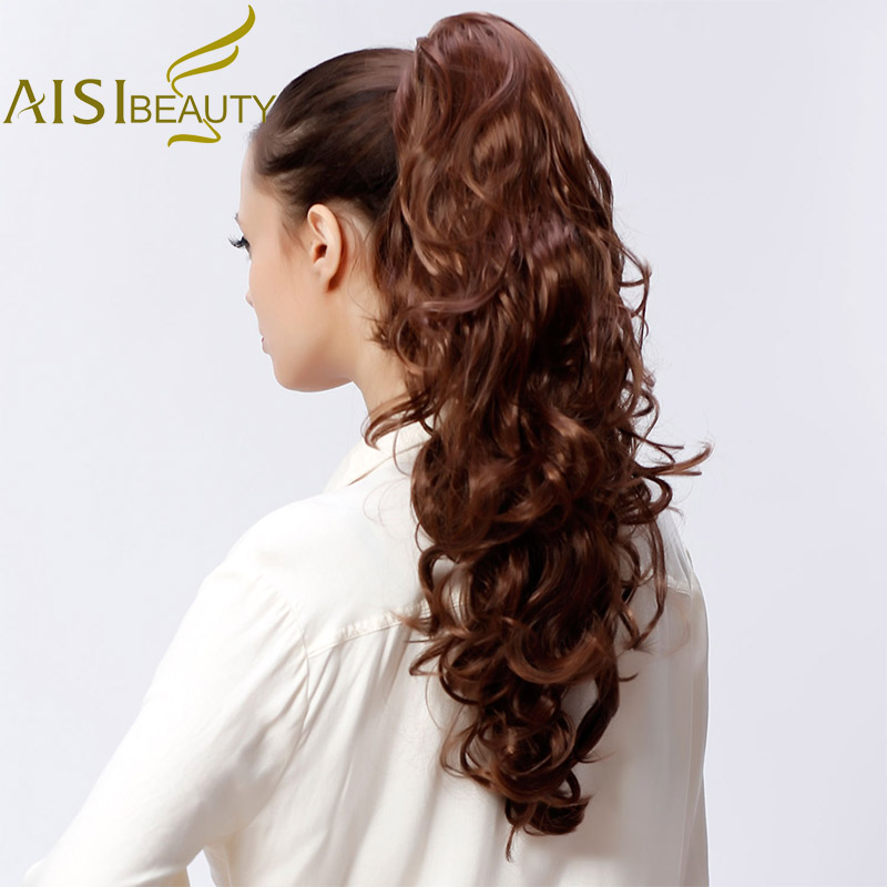 AISI BEAUTY 29 200g High Temperature Fiber Hairpieces Long Wavy Synthetic Claw Clip Ponytail Hair Extensions for Women