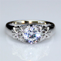 Round 0 8ct Lab Grown Diamond Legent Of Zelda Style 14k White Gold Engagement Ring Esdomera