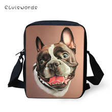 ELVISWORDS Flaps Messenger Bags Small Cute Women Little Bulldogs Prints Pattern Girls Crossbody Bag Fashion Shoulder Purses