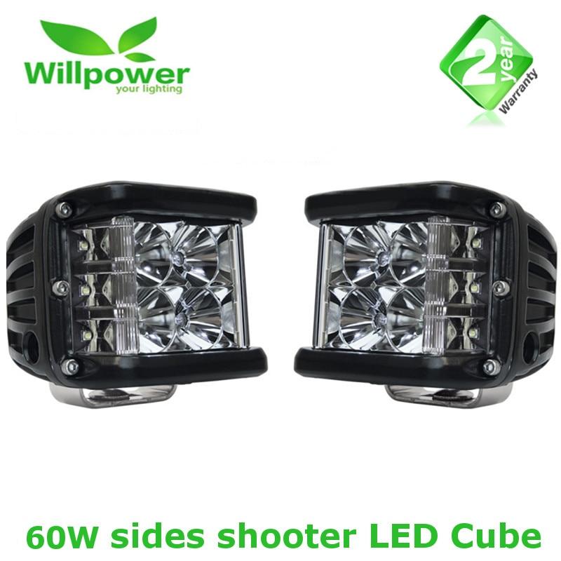 2x60 W Spot conduite antibrouillard hors route 3 côté tir Pod Cubes LED LED lumières Bar support de montage pour Jeep lampe UAZ SUV bateau 4x4