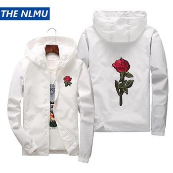2019 Rose Embroidery Thin Jackets Men Women Streetwear Polyester Jacket Coat Hip Hop Casual Autumn Windproof Plus Size HA70