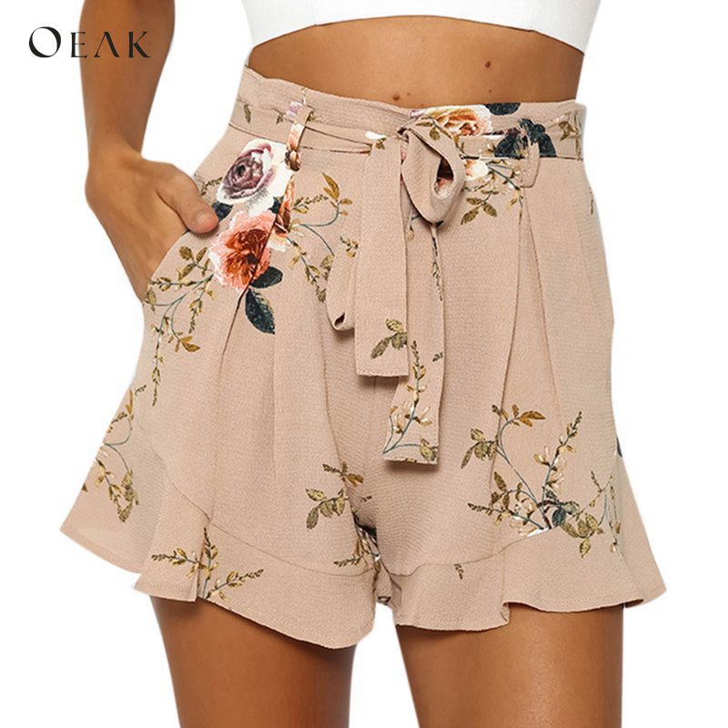 OEAK   Shorts   Women Floral Print   Short   2018 Summer Casual Loose High Waist   Shorts   Female Fashion Sexy Chiffon   Shorts   Plus Size New