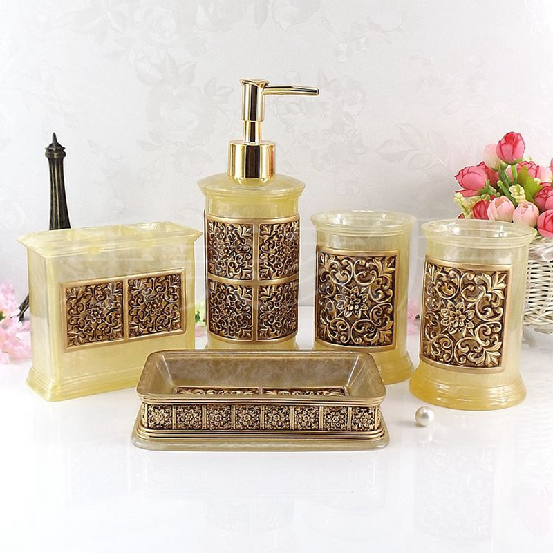 Natural resin bathroom five piece bathroom accessories set wedding gift toiletries toiletries soap bowl toothbrush holder