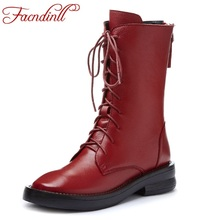 FACNDINLL genuine cow leather ankle boots for women autumn winter warm short boots square heel rome style black motorcycle boots цена в Москве и Питере