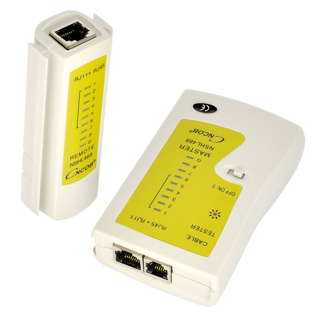 CNCOB RJ45 and RJ11 Network Cable Tester Ethernet LAN Network Test Tool Cat5E Cat6A Cat3 RJ12 CHL-468 UTP FTP Detector 4