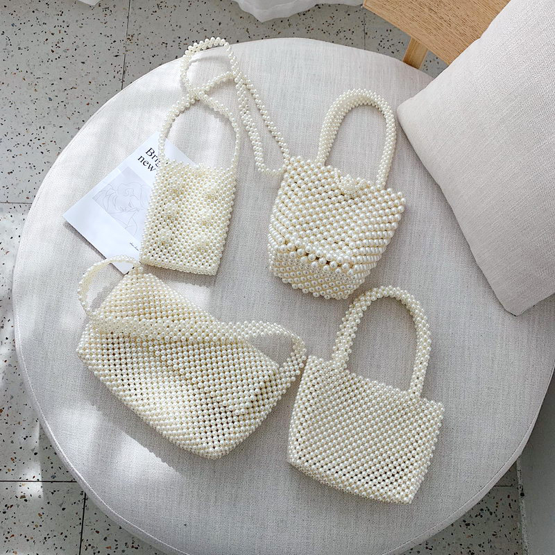 Brand Hand-woven Pearl Bags Beaded Box Totes Bag Women Party Vintage Handbag Luxury Shoulder Bags Solid Color Simple Bag 2019Brand Hand-woven Pearl Bags Beaded Box Totes Bag Women Party Vintage Handbag Luxury Shoulder Bags Solid Color Simple Bag 2019