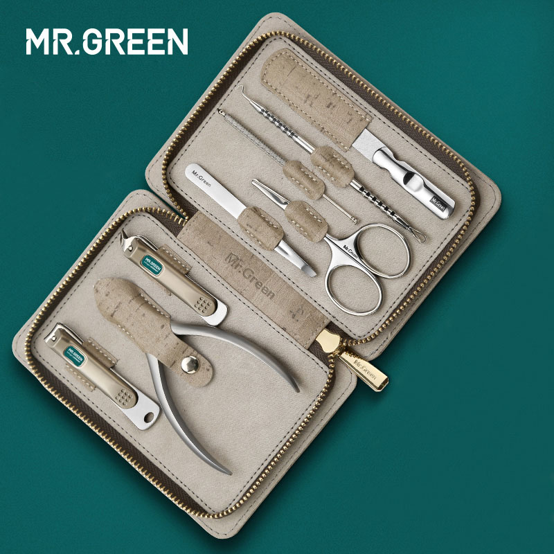 MR.GREEN 8 in one grooming kit Nail clipper set toe finger scissors set stainless steel nail cutter scissors manicure tools-in Sets & Kits from Beauty & Health
