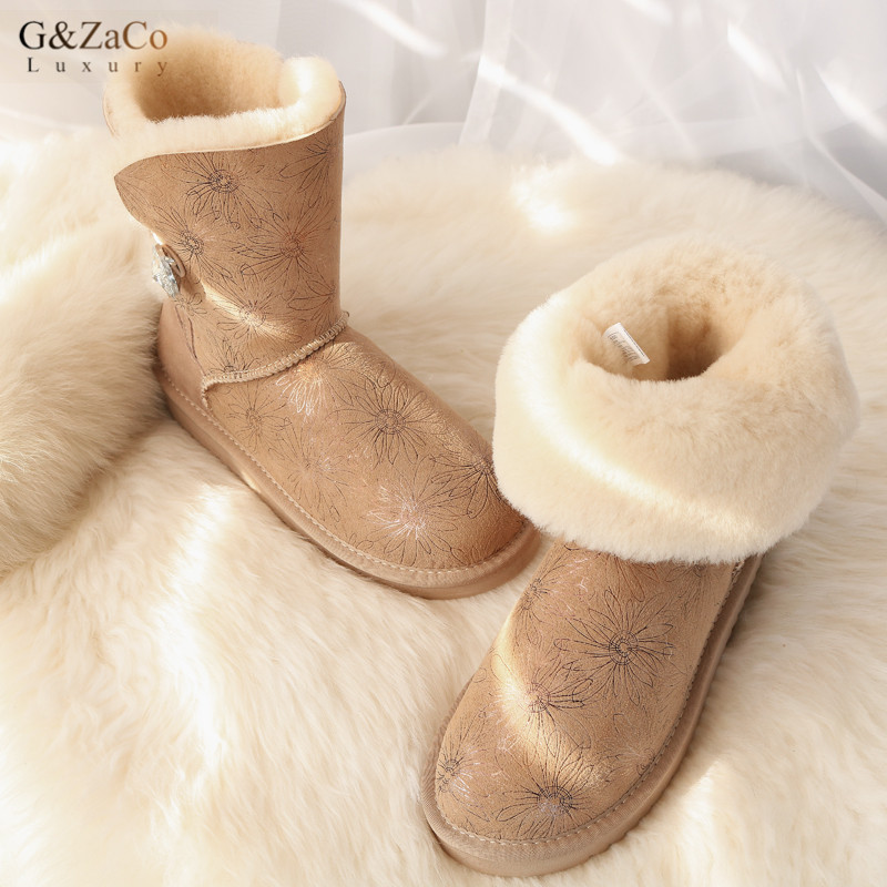 G&Zaco Luxury Winter Australia Sheepskin Snow Boots Natural Wool Sheep Fur Boots Mid Calf Crystal Button Flat Women Fur Boots fashion hot winter hand embroidery flowers women snow mid calf boots sheep wool high qualit flats street style beauty boots 26