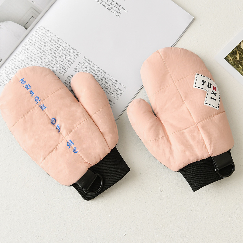 Winter Female Plus Plush Thick Keep Warm Sports Waterproof Leather Palm Mittens Women Cute Cartoon Windproof Halter Gloves S92