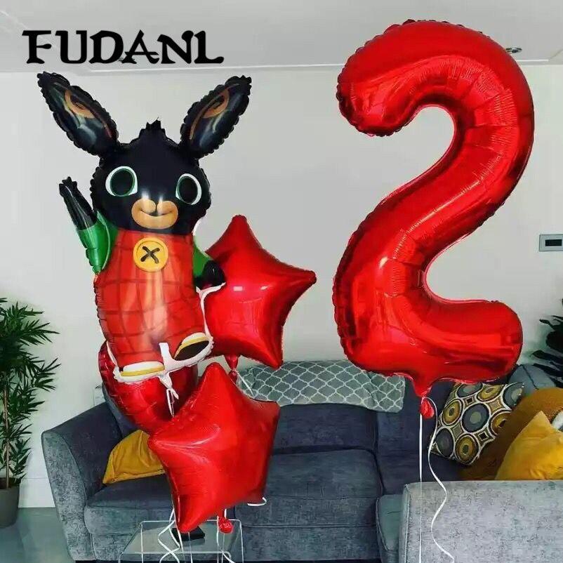5pcs 86*60cm Bing Bunny Foil Balloon Cartoon Rabbit