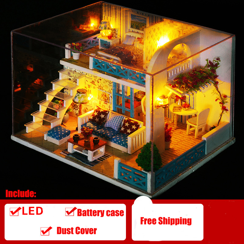 Doll House Furniture Diy Miniature Dust Cover Wooden Miniaturas Dollhouse Toys For Children Birthday ChristmasGifts Helenby K019