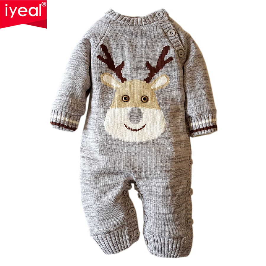 IYEAL NEW 2018 Newborn Winter Outerwear Baby Rompers Warm Cotton Christmas Deer Infant Baby Girl Boy Clothes Thickening Jumpsuit