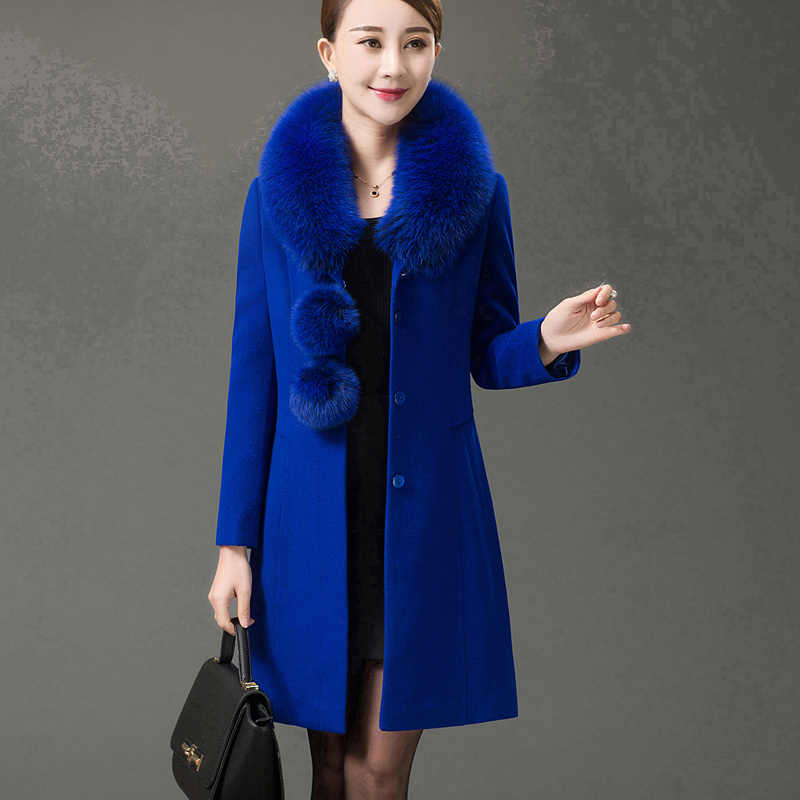2019 autumn winter women new fashion large fur collar long single-breasted woolen cashmere coat lady large size laced wool coat