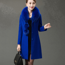 2019 autumn winter women new fashion large fur collar long single-breasted woolen cashmere coat lady size laced wool