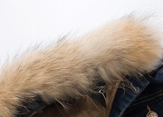 New Men Winter Deinim Jaket Man's Thick Denim Coat fur collar detachable male plus velvet denim clothes