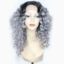 Ombre Curly Lace Front Wig Synthetic Lace Wigs For Black Women Eunice 18inch Heat Resistant Fiber Grey Brown 613 Lace Front Wig стоимость