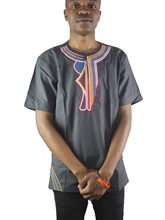 Africa Ethnic Embroidery Men`s Dashiki Tops Side Slit Henley Shirts for Summer Wearing