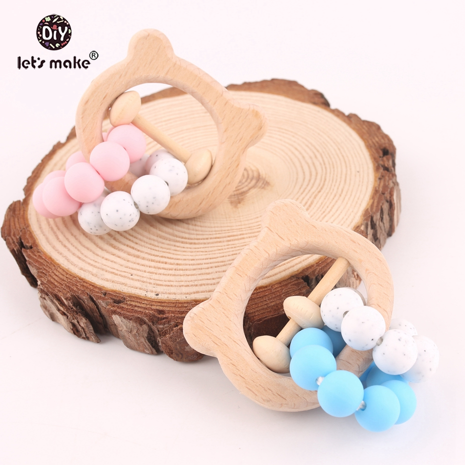 Let s make Nursing Play Gym Beech Wooden Bear Head Rattle 10pcs Teething Baby Toys For
