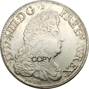 Франция Королевство 1 Ecu Луи XIV 1690 латунные посеребренные копии монет