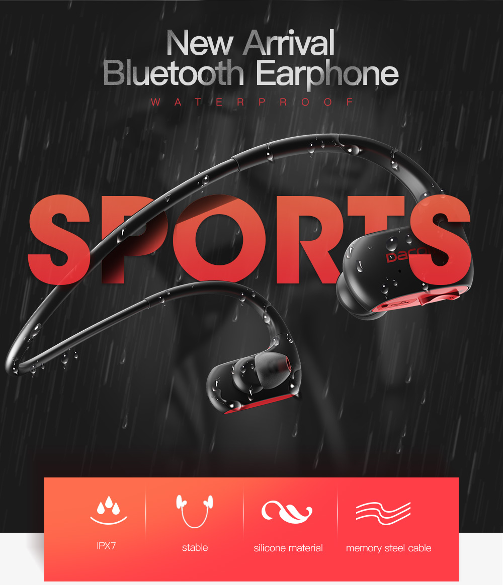 DACOM L05 Sports Bluetooth Headphones Bass IPX7 Waterproof Wireless Earphones Stereo Headset with Microphone for iPhone Samsung