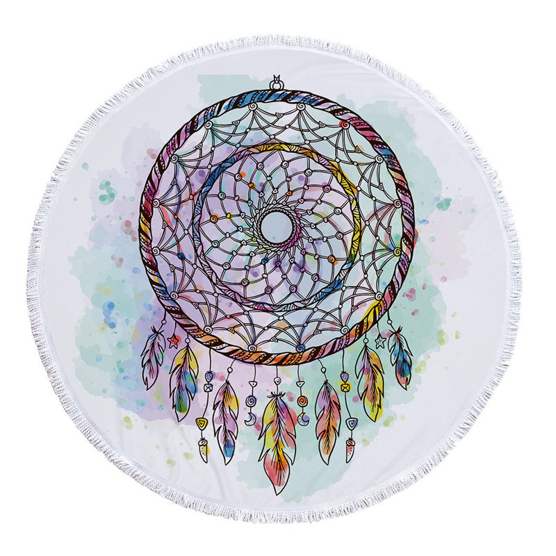 Round Beach Towel Microfiber Wind Chimes Prints With Tassel Cover Up 2018 Summer Women Picnic Beach Large Mat Towel