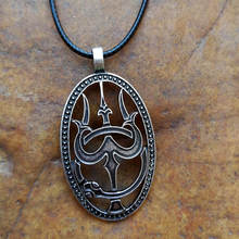 1pc trishula and ouroboros viking necklace amulet jewelry shiva