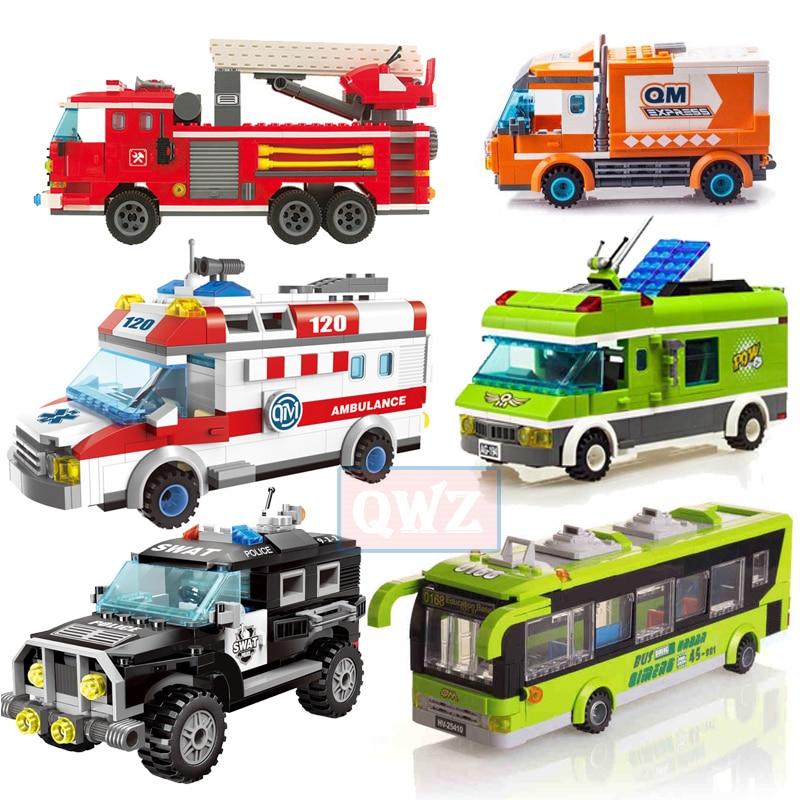 City Legoes Wrecker Police Sanitation Ice Cream Car Truck Building Blocks Bricks Kids Toys Marvel City Friends Christmas Gifts