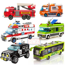 City Legoes Wrecker Police Sanitation Ice Cream Car Truck Building Blocks Bricks Kids Toys Marvel City Friends Christmas Gifts(China)