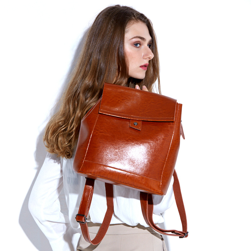 Famous Brand Women Backpack Vintage Genuine Leather Double Shoulder Bag Women Leisure Solid Color Satchel Girl School Backpack vieline genuine leather women backpack famous brand lady leather backpack leather school bag free shipping