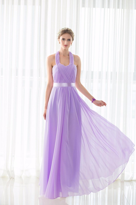 100% imagen real barato robe Femme long Halter Lila Vestidos de dama ...
