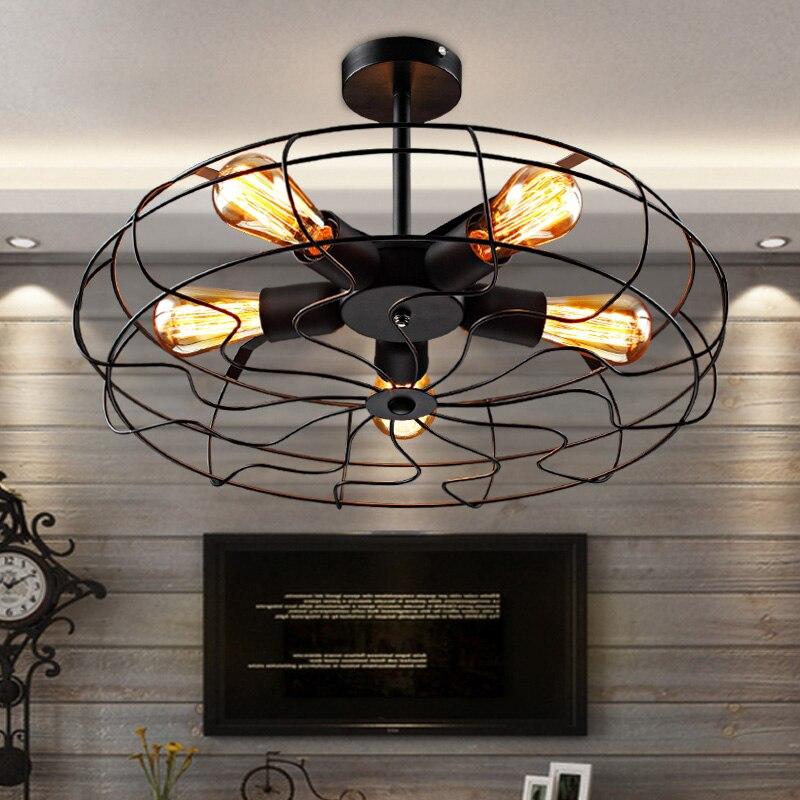 Vintage Ceiling Light Fan Lampshape Ceiling Lamp Iron