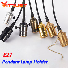 Retro pendant lamp holder hanging lights bulb holder with switch Vintage pendant lighting E27 bulbs holder AC 90-260V vintage pendant lights retro water pipe pendant lamp e27 holder edison bulbs lighting fixture for warehouse diningroom ktv bar