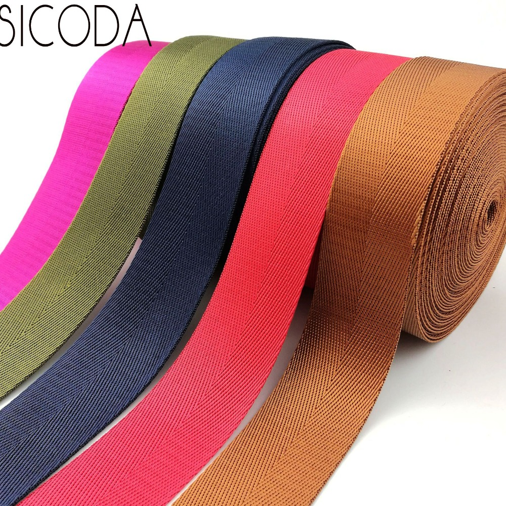 SICODA 10yards 38mm Wide Smooth Nylon Webbing Tape Heavy Duty 1.0mm Thick Nylon Herringbone Tape Handbag With Luggage And Belt