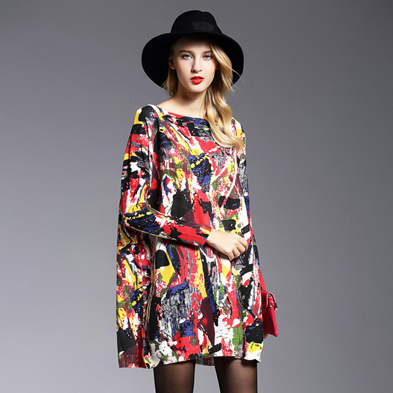 New Fashion Autumn Winter Wool Sweaters Print Dresses Loose Knitted Pullovers Long Sleeves O-Neck Oversized Sweater Dress 6125