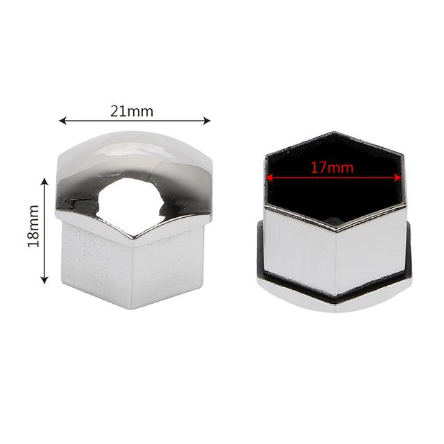 FORAUTO 20Pcs 17mm Car Wheel Nut Caps Bolt Rims Special Socket Protection Auto Hub Screw Cover Exterior Decoration Black/Silver