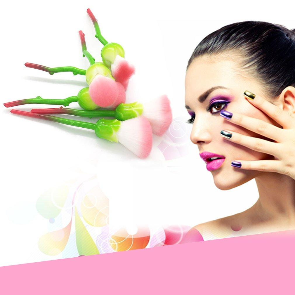 Professional 6pcs/set Beauty Rose Shape Makeup Brushes Cosmetics Foundation Powder Blush Eyeshadow Soft Brush Set new 6 pcs rose makeup brushes set foundation highlighter brush plastic handle soft hair fashion beauty makeup cosmetics tool kit