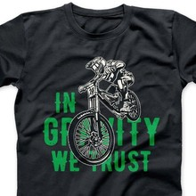 2019 New Summer Men Hot Sale Fashion In Gravity We Trust T Shirt Distressed Downhill Mountain Biker MTB Bicycle Gift(China)