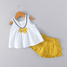 WYNNE GADIS Summer Baby's Sets Girls Sleeveless V Neck Bow Blouse Tops + Ruffles Shorts Kids Princess Paty Two Pieces Suits