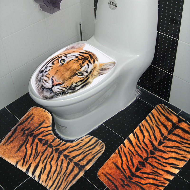 3 Pieces Set Tiger Leopard Pattern Anti Silp Bath Mat