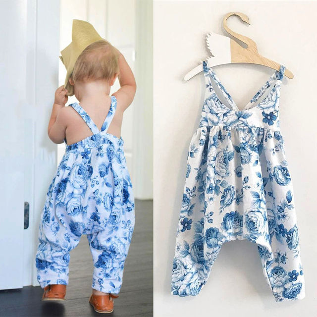 715b61fb7669 Blue Flower Print Backless Newborn Infant Baby Girl Cotton Romper ...