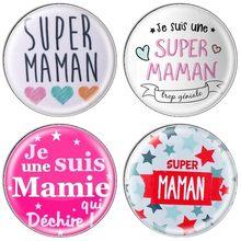 ZDYING — Tag je suis une super maman, lot de 5 pièces en verre pour confectioner des bijoux pour mères et grand mères