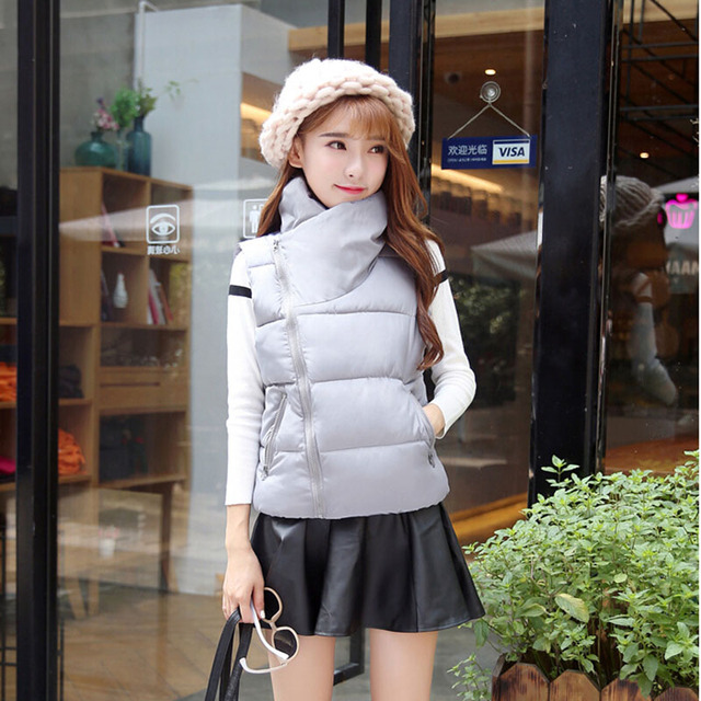2016 New Women Warm Sleeveless Jacket Winter Vests Ladies Hooded Solid Slim Coats Coletes Femininos